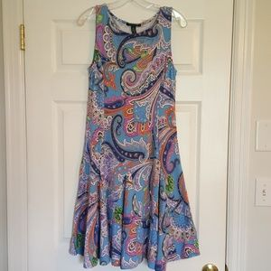 "Ralph Lauren ""LAUREN"" Paisley Stretch Dress Sz M"